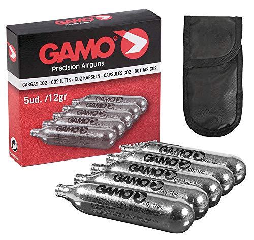 Tiendas LGP – Gamo, 5 bombonas CO2 12 gr. Gamo para Pistolas y carabinas + Funda portabombonas