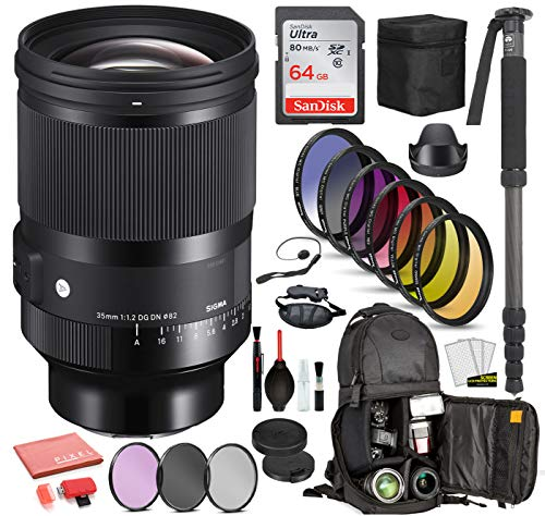 Sigma 35mm f/1.2 DG DN Art Lens for Sony E (341965) with Bundle Package Kit Includes: Sandisk 64gb SD Card, 9PC Filter Kit + More