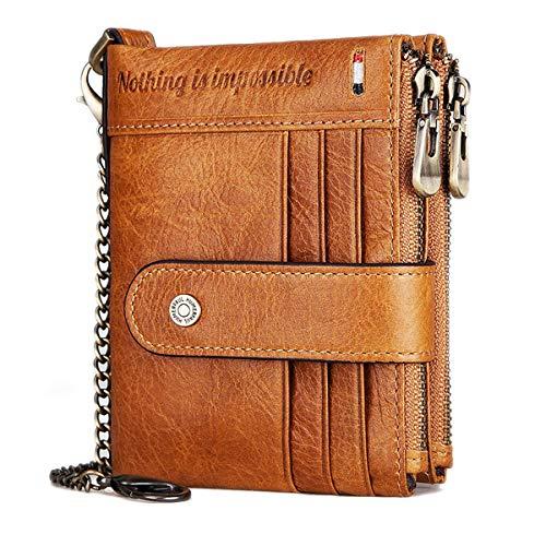 Geldbörse Herren Echtem Leder Brieftasche Herren RFID Schutz Portemonnaie Klein mit Kette, Ledergeldbörse Geldbeutel Männer 19 Kartenfächern und Portmonee Herren Reißverschluß Münzfach (braun)