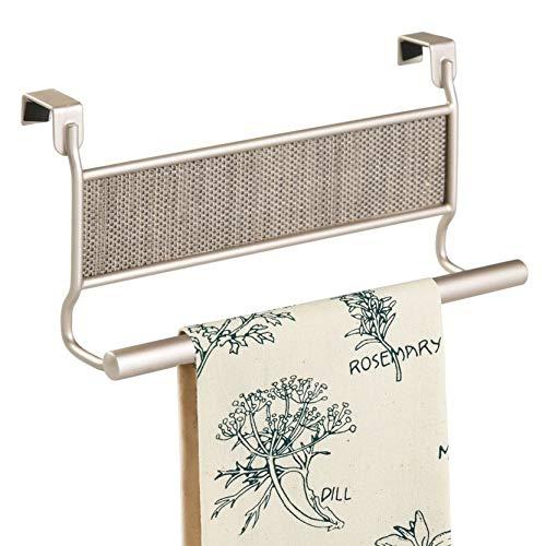 InterDesign Twillo accroche-torchon pour porte, portes-serviettes en métal & plastique tressé, barre de cuisine à suspendre, champagne