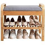 Organizador Zapatos Armario Mueble Zapatero Banco de Almacenamiento de Zapatos para Entrada, Estilo Japones Repisa de Zapatos con Tapa, 3 Niveles Bambú Porta Zapatos para el Dormitorio de la Sala de E