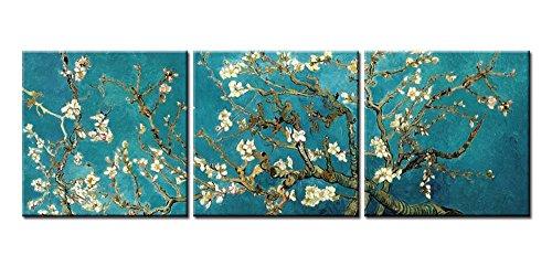 Quadri decorativi casa, motivo: mandorlo in fiore di Van Gogh, del 1890, riproduzione Giclée su 3 pannelli, con tela stesa e incorniciata, per la decorazione del soggiorno, personalizzabili