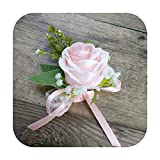 Arte Flor Moda Rosa Boutonniere Prom Mariage Novio Corsages Boda Dama de honor Pulsera Flor DIY Accesorios - B Corsages-