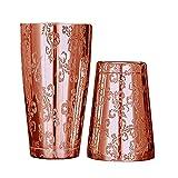 Coctelera de cóctel Boston Barra de acero inoxidable ShakerTool Bar Taza de estaño con grabado lavanda grabada (Color : Mirror Copper)