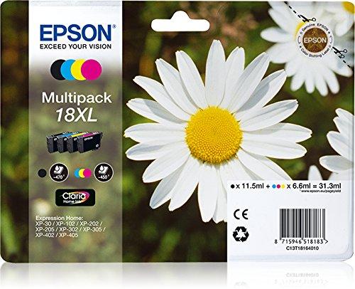 Epson Multipack 18XL 4 colores (etiqueta RF) - Cartucho de tinta para impresoras (Original, Tinta a base de pigmentos, Negro, Cian, Magenta, Amarillo, Epson - XP-30 / XP-102 / XP-202 / XP-205 / XP-302 / XP-305 / XP-402 / XP-405, 4 pieza(s), Impresión por inyección de tinta)
