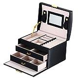 DCCN Schmuckkasten Elegant PU Leder Schmuckkoffer Schmuckschatulle Kosmetikkoffer mit 2 Schubladen Spiegel
