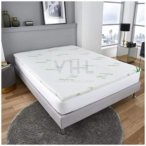 Gaveno Cavailia Antimicrobial Bamboo, Soft Foam 100% Polyester Anti-allergenic Breathable Bed Mattress, Kingsize Topper, White, King