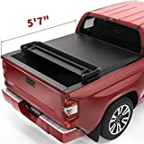 oEdRo Quad Fold Tonneau Cover Soft Four Fold Truck Bed Covers Compatible with 2014-2021 Toyota Tundra 5.6' Bed, Fleetside (Incl. Utility Track Bracket Kit)