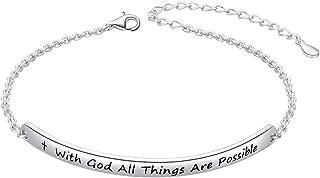 Sterling Silver Faith Hope Love Cross Bangle Bracelet for Women Sister Girlfriend Gift