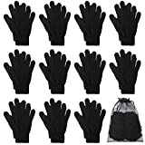 Cooraby 12 Pairs Winter Magic Gloves Stretchy Warm Knit Gloves with Mesh Storage Bag for Men or Women (Black, Length 7.5 inches)