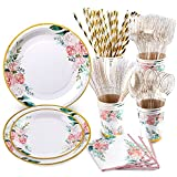 Floral Party Supplies, Bridal Shower Plates Serves 16, Floral Plates and Napkins Sets, Cups, Cutlery, for Baby Shower Birthday Decorations Wedding Tea Party Supplies