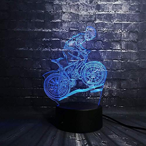 Boyfriend Gifts 3D lamp Night Light Led Night Light Multicolor Lava Led RGB Ride Bike Man Table Kids Christmas Gifts Home Deacorative Sport Light Boy with Remote Control USB