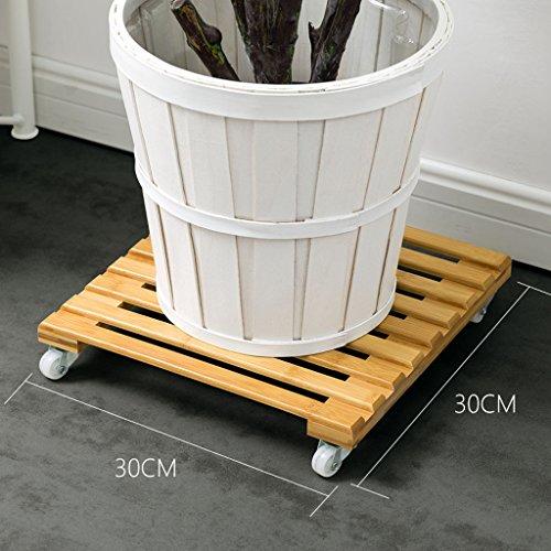 LYQZ Supports Mobiles de Support de Fleur de Bambou, planteurs carrés de Pot de Plante avec 4 Roues roulantes Base intérieure d'usine Caddy avec Roues (Taille : Large)