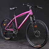 Hardtail Mountain Trail Bike 24 pulgadas para adultos Mujeres Niñas Bicicleta de montaña con suspensión delantera y frenos de disco mecánicos Marco de acero de alto carbono-21 velocidades_Rosado
