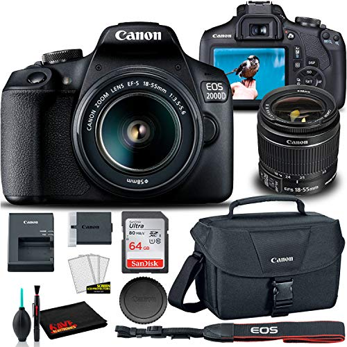 Best Prices! Canon EOS 2000D DSLR Camera with 18-55mm Lens + Canon EOS Bag + Sandisk Ultra 64GB Card...