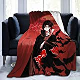 Comfy Durable Flannel Blankets for Outdoor Work Travel Home Couch Sofa Decorative, Naruto Shippuden Uchiha Itachi Akatsuki Cloud Soft Throw Blanket, Comfy Breathable Fuzzy Bed Blankets 60X50 In