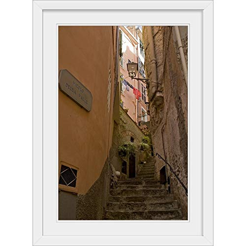 GREATBIGCANVAS Italy, Cinque Terre, Riomaggiore. Steep Steps Between Buildings White Framed Wall Art Print, 20.