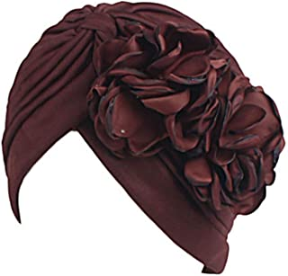 Fashian Lady Flower Muslim Turban Pleated Head Wrap Scarf Bandana Hat Pre Tied Headwear Cancer Chemo Cap WJ-28 (Color : 8, Size : One Size)