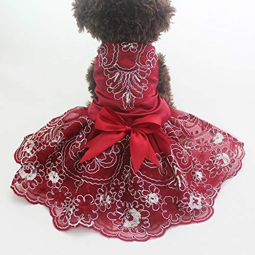 JJZXD Perro Gatos Vestido de Novia Tutu Princesa Pet Cachorro Vestidos Bordado y Lazo Ropa Apperal 3 Colores (Color : B, Size : X-Large)