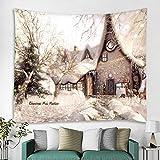 Christmas House Art Home Wandbehang Wandteppich Wandverzierung Weihnachtswanddekoration Hochwertiger Wandteppich Home Decor- (59x79inch) (150x200cm)