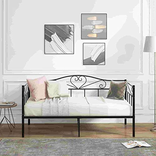 Metal Bed 3FT Single Daybed, Metal Guest Bed for Adults Kids Teenagers, Sofa bed for Bedroom, Living Room, Black (90 x 190 cm)