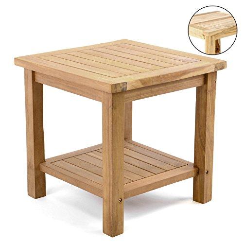 Divero Beistelltisch Blumen Hocker Balkontisch Teak Holz Tisch für Bad Terrasse Balkon Garten – wetterfest stabil unbehandelt – 50 x 50 cm Natur braun behandelt (wählbar) (braun)
