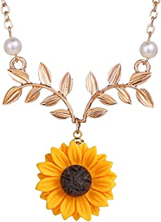 Sweet Sunflower Pearl Leaf Pendat Necklace Resin Daisy Flower Clavicular Chain Fashion Jewelry for Women