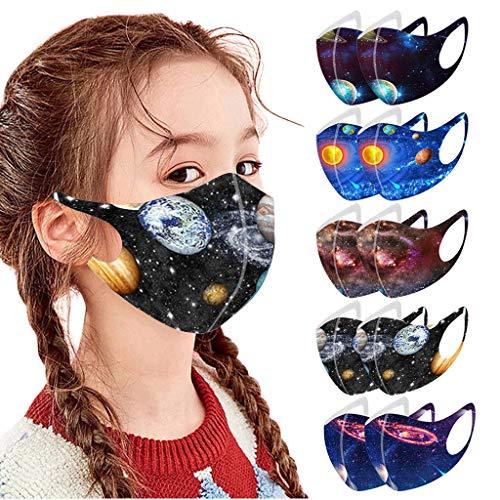 10 Stück Jungen Mädchen 3D Cartoon Druck Maske Kinder Mundschutz Gesichtsschutz Waschbar Baumwoll Stoffmaske Atmungsaktiv Mund-Nasen Bedeckung Universum Planet Motiv Halstuch Schals
