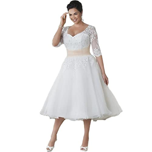 4f0ef8682c2 HUINI Sheer Half Sleeves Short Lace Wedding Dresses Plus Size Bridal Gowns