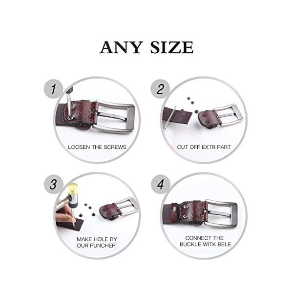 51mxlcceV4L. SS600  - Leathario cinturones de hombre de piel sintetica cinturones de moda de cuero con buenos acabados para caballeros hebilla elegante