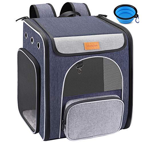 Hunderucksack, Faltbarer Katzenrucksack für Katzen und Hunde, Atmungsaktiver Haustier Rucksack mit Innerer Sicherheitsleine + Zusammenklappbarer Hundenapf, zum Wandern, Reisen, für den Außenbereich