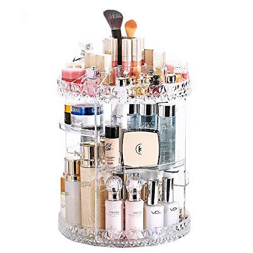 JZK Organizador Maquillaje Giratorio acrílico Transparente, Organizador de cosméticos Ajustable, Caja de Almacenamiento de Maquillaje, expositores de esmaltes de uñas