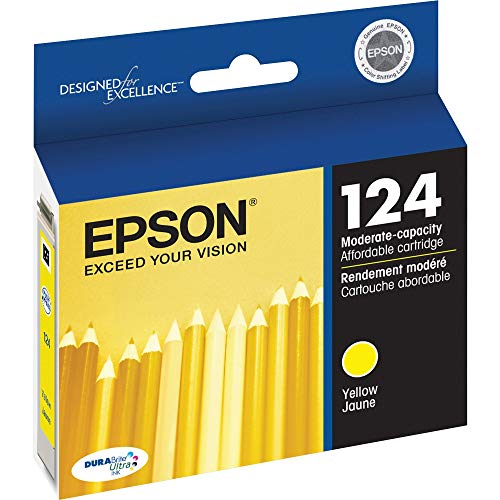 EPSON T124 DURABrite Ultra Ink Standard Capacity Yellow Cartridge (T124420) for Select Epson Stylus and Workforce Printers