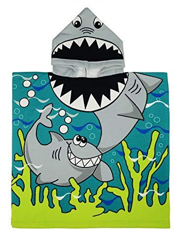 Century Star Kids Towels Hooded Bath Beach Towel Girls Boys Swim Pool Cover Up Super Absorbent Cute Cartoon Animal Sea Shark One Size