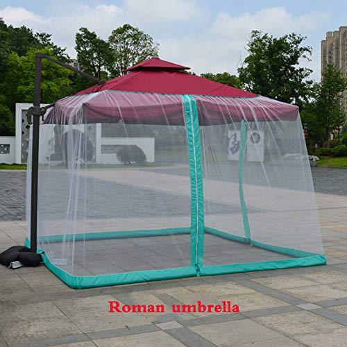 ZHXY Parapluie moustiquaire,Filet de Maille Polyester extérieur Jardin Patio Parapluie écran de Table,Parasol moustiquaire Housse moustiquaire Couverture avec Fermeture à glissière Porte