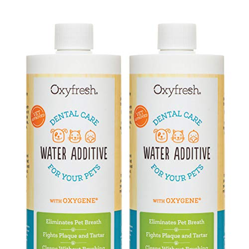 Oxyfresh Premium Pet Dental Care Solution Pet Water Additive: Best Way to Eliminate Bad Dog & Cat Breath- Fights Tartar & Plaque | Vet Recommended! Most Popular (16 oz) 2 Pack