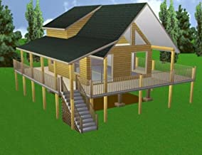 Easy Cabin Designs 20x24 Cabin w/Loft Plans Package, Blueprints and Material List