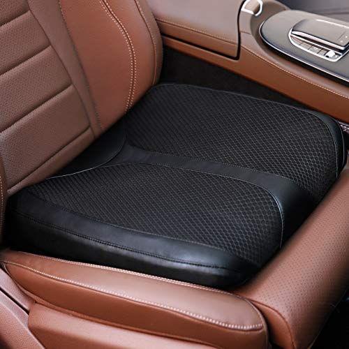 QYILAY Car Memory Foam Heightening Front Seat Cushion for Short People Driving,Hip(Coccyx/Tailbone) and Lower Back Pain Relief Butt Pillows,for Truck,SUV,Office Chair,Wheelchair,etc. (Black)