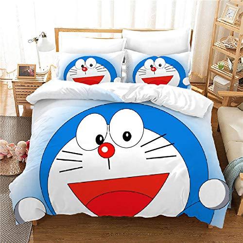 INFANDW Juego de Funda de Edredón,3 Piezas 140x200cm Anime-Doraemon Funda Nórdica Microfibra Juego de Cama Cremallera con Funda de Almohada