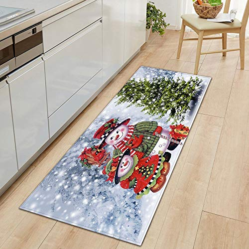 Hamkaw tapete de Navidad antideslizante, 47 x 16 pulgadas de largo, alfombra de pasillo, alfombra de pasillo,...