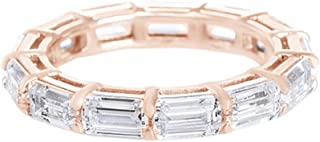 AFFY Emerald Cut Cubic Zirconia Eternity Band Ring in 14k Gold Over Sterling Silver