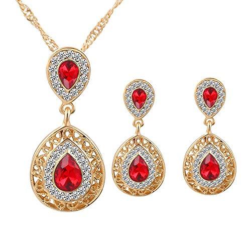 U-K Collar de Cristal Chapado en Oro Pendientes Conjuntos de Boda para...