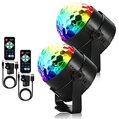 Litake Disco Ball Lights, USB Operated DJ Party Lights with UK Plug Adaptor Remote Control RGB 7 Colours Sound Activated 3W Mini Car Strobe Light for Festival Bar Club Party Wedding Show Home (2 Pack)