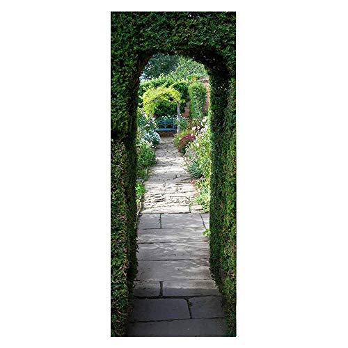 KEXIU 3D Jardín verde PVC fotografía adhesivo vinilo puerta pegatina cocina baño decoración mural 77x200cm
