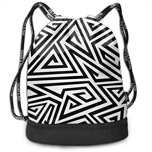 OKIJH Monochrome Spiral Triangle Men and Women General Backpack Multifunctional Bundle Backpack Fashion Travel Backpack Lightweight Sackpack Sport Gym Bundle Backpack