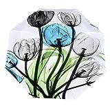 Paraguas anti-UV para sol/lluvia,Coloridas flores y tulipanes de arte creativo estera con hojas verdes sobre blanco Paraguas de viaje a prueba de viento: compacto, automático.