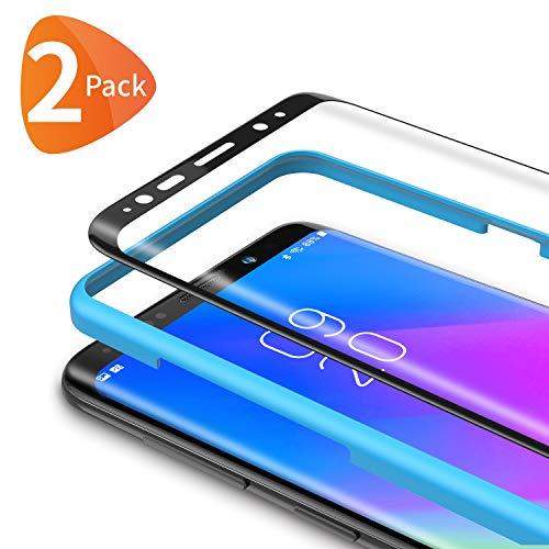 Bewahly Panzerglas Schutzfolie für Samsung Galaxy S9 Plus [2 Stück], 3D Curved Full Cover Panzerglasfolie HD Bildschirmschutzfolie 9H Festigkeit Folie mit Installation Werkzeug für Samsung S9 Plus - Schwarz