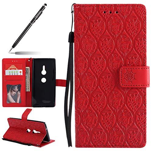 Uposao Hülle Kompatibel mit Sony Xperia XZ2 Handyhülle, Retro Blumen Handytasche Bookstyle Klappbar Flip Case Brieftasche Lederhülle Leder Handy Schutzhülle mit Magnetverschluss,Rot