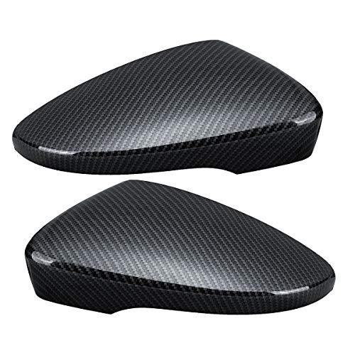 JenNiFer Car Door Wing Rearview Mirror Cover Carbon Black Pair für VW Passat Scirocco Käfer CC EOS