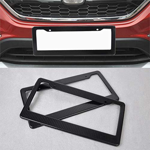 2Pcs Jdm Front Rear Carbon Fiber Look Usa License Plate Frame Tag Cover Holder For Vw Polo Toyota Rav4 Audi A4